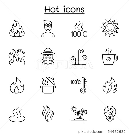 Hot icon set in thin line style 64482622