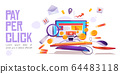Pay per click banner, computer desktop with cursor 64483118