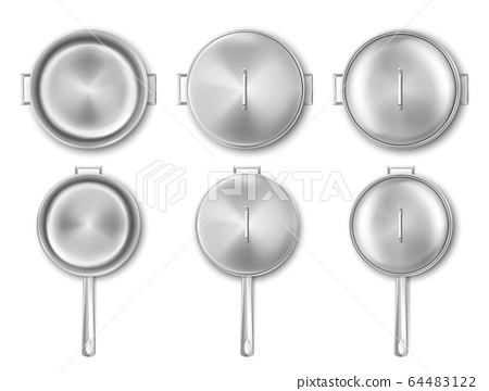 Metal cooking pot and frying pan with lid top view 64483122