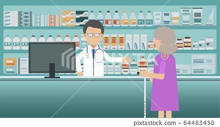 Pharmacy with pharmacist and customer 64483430