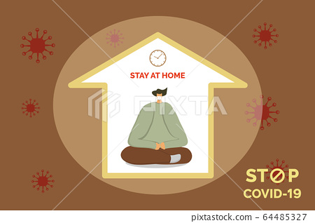 Young man in home mask stay isolation at home for self quarantine. Man in medical mask stay sits  a meditation pose at home concept stay at home quarantine, vector illustration 64485327