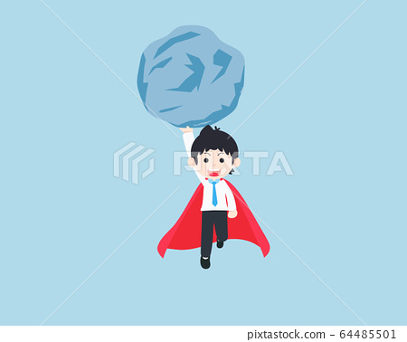 SD Business Man Holding a giant rock with one hand 64485501