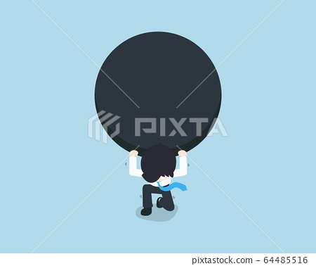 SD Business Man bearing a giant black ball on his 64485516