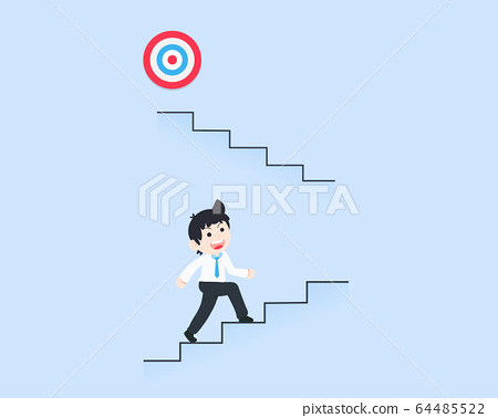 SD Business Man Stepping up the stairs to reach 64485522