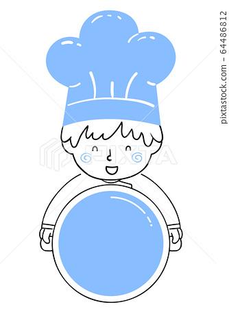 Kid Boy Chef Hold Pot Illustration 64486812