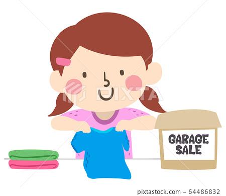 Kid Girl Garage Sale Clothes Illustration 64486832
