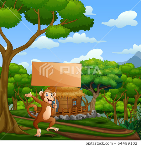 Cartoon monkey holding wooden sign in the nature 64489102