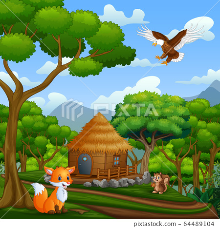 A wooden cottage and animals in the middle of forest 64489104