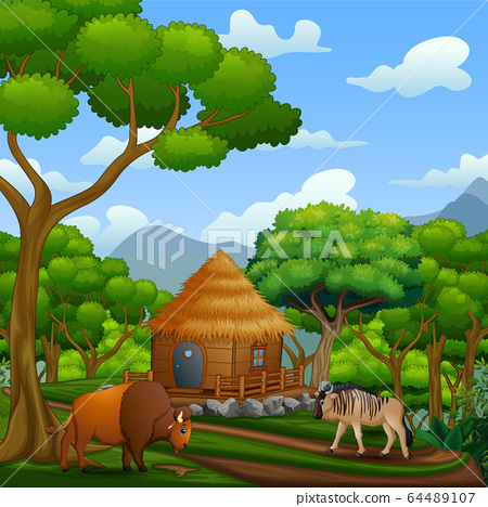 Scene with wooden cottage with animals 64489107