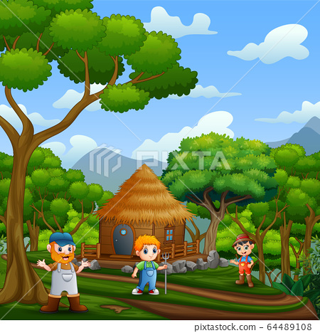 Background scene with the farmers and wooden cottage 64489108
