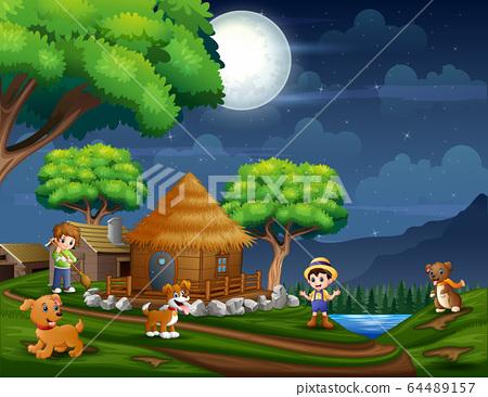 Illustration the farmer in the farmland at night 64489157