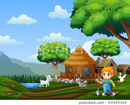 Young farmer with animals at the farmland 64489164