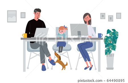 Telework illustration of a couple working remotely from home 64490895