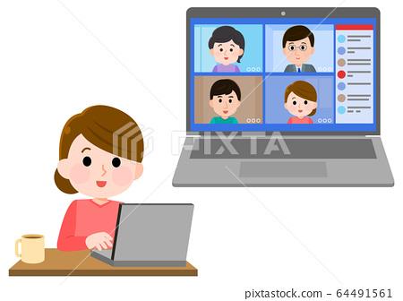 遠程工作在線視頻會議女性插畫 64491561