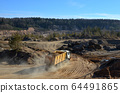 Dump truck transports sand and other minerals in quarry 64491865