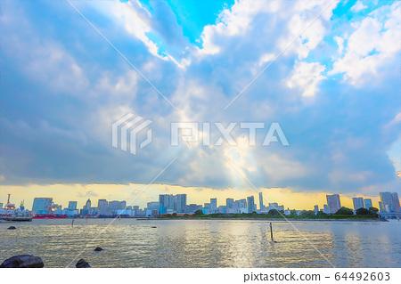 Mysterious scenery of Odaiba, anime style 64492603