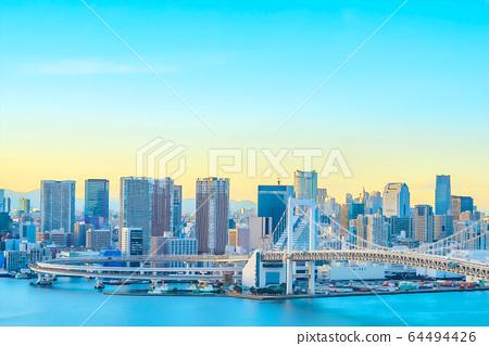 Cityscape seen from Odaiba anime style 64494426