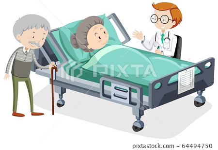 Coronavirus theme with old woman in hospital bed 64494750