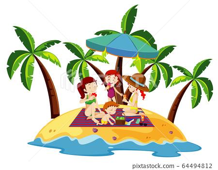 Ocean scene with people having fun on the beach 64494812