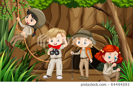 Scene with group of scouts exploring the cave 64494893