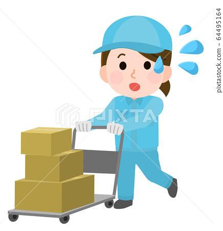 납품 업체 바쁜 짐을 여성 일러스트 64495164