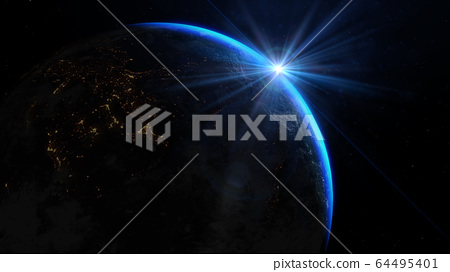 View of the planet Earth from space during a sunrise. Elements of this image furnished by NASA 64495401