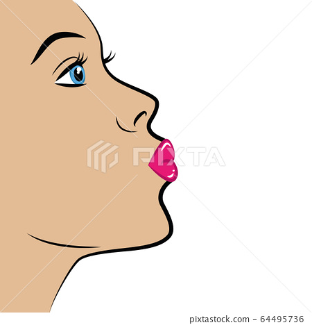 sexy girl portrait with pink lips air kiss 64495736