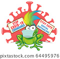 frog cartoon with mask on signboard against 64495976