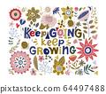 Floral color vector lettering card. 64497488