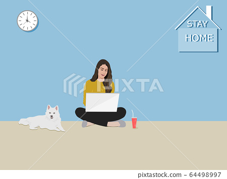 A woman sitting using a notebook in the house . The white dog sat beside. There was a character stay home on the wall 64498997
