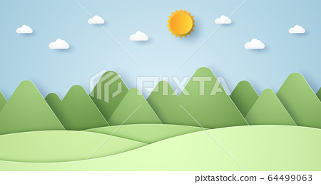 Nature hill and mountain with sun and sky, paper art style 64499063