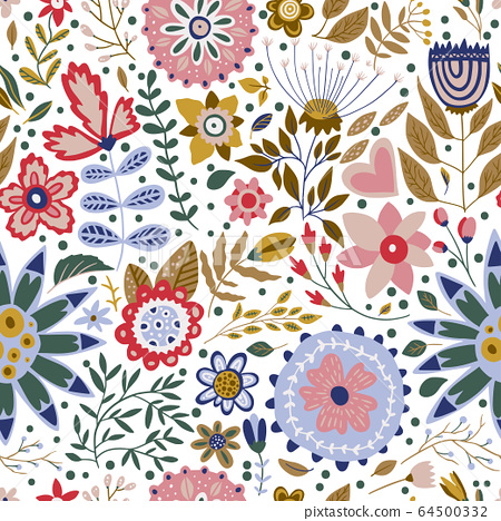 Seamless vector floral pattern. 64500332