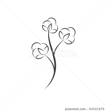 Cotton flower vector icon template 64501879