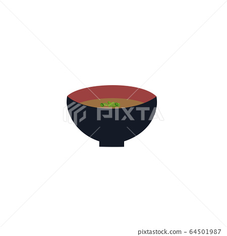 Vector illustration of simple miso soup in a bowl 64501987