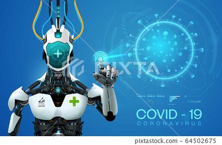 ai robot mediic with corona virus covid 19covid 64502675