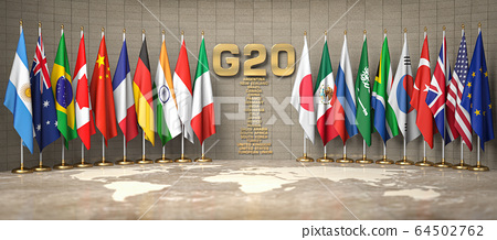 G20 summit or meeting concept. Row from flags of 64502762