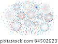 Happy 4th July fireworks. Celebration firework explode, carnival party firecracker explosions. Colorful festival fireworks vector illustration 64502923