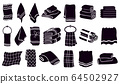 Household towel silhouettes. Black textile rolled and hanging towels. Fabric bathroom, kitchen towels vector illustration symbols set 64502927