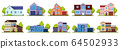 Suburban houses. Living real estate house, modern country villas. Home facades, street architecture vector illustration icons set 64502933