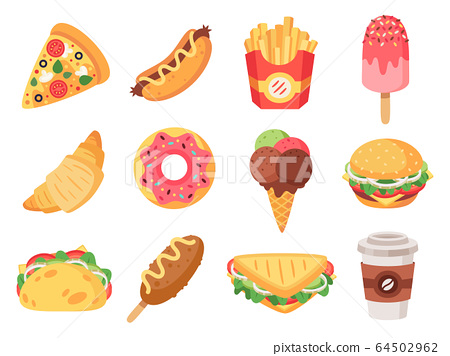 Fast food. Junk food and snacks, hamburger, taco, french fries, donut and pizza high calorie food. Doodle fast food vector isolated icons set 64502962