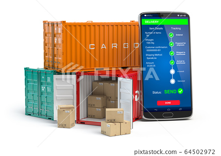 Smartphone with cargo containers  isolated on 64502972