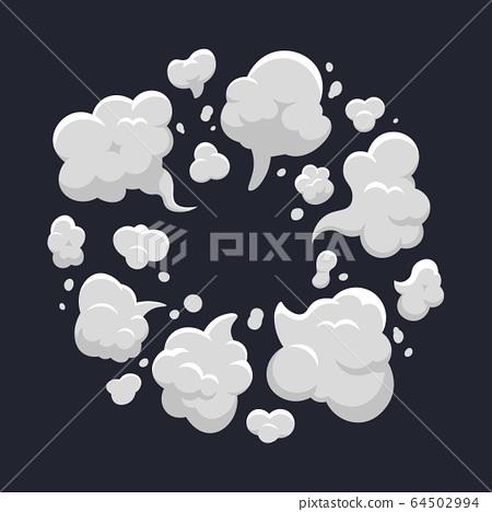 Cartoon dust cloud. Comic dust cloud explosion, steam, smoke cloud explode. Cloud action element isolated vector illustration 64502994