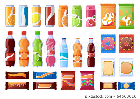 Vending machine snack. Beverages, sweets and wrapper snack, soda, water. Vending products, machine bar snacks vector illustration icons set 64503010
