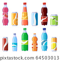 Soft drink cans and bottles. Soda bottled drinks, soft fizzy canned drinks, soda and juice beverages isolated vector illustration icons set 64503013