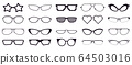 Spectacles silhouette. Glasses frames, optics eyewear and eyeglasses frame. Rim optic lens glasses vector illustration icons set 64503016