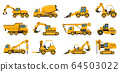 Construction machinery. Heavy road equipment trucks, forklifts and tractors, excavation crane truck isolated vector illustration set 64503022