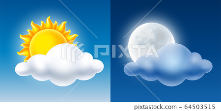 Day And Night Sky With Sun, Moon And Cloud 64503515