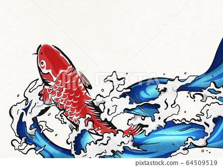 잉어의 폭포 등반 - 비단 잉어 - 물보라 - 물 - 생동감 64509519
