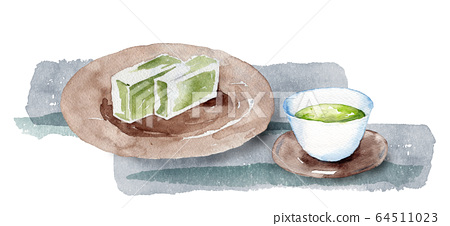 Japanese tea and yokan 64511023