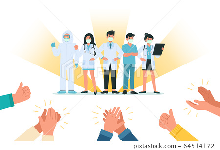 Human hands clapping for Brave doctors and nurses wearing face mask fight against bacteria virus. 64514172